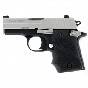 RUBBER WRAPAROUND GRIP WITH FINGER GROOVES AND AMBIDEXTROUS SAFETY - SIG SAUER P938 - BLACK