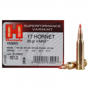 SUPERFORMANCE VARMINT AMMUNITION - 17 HORNET, 20 GRAIN, V-MAX