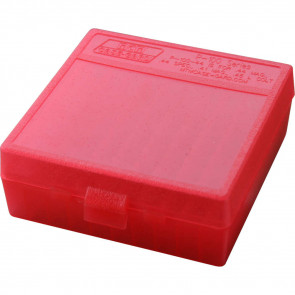P-100 SERIES X-LARGE HANDGUN AMMO BOX - 100 ROUND - CLEAR RED