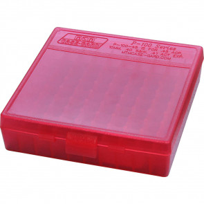 P-100 SERIES LARGE HANDGUN AMMO BOX - 100 ROUND - CLEAR RED