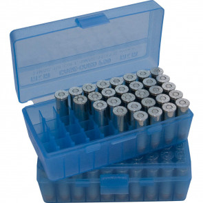 P-50 SERIES MEDIUM HANDGUN AMMO BOX - 50 ROUND - CLEAR BLUE