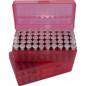 P-50 SERIES MEDIUM HANDGUN AMMO BOX - 50 ROUND - CLEAR RED