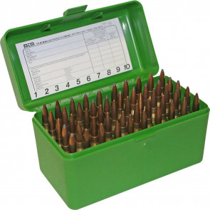 R-50 SERIES LARGE CALIBER RIFLE AMMO BOX - 50 ROUND - GREEN
