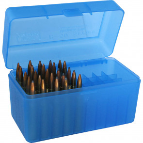 R-50 SERIES LARGE CALIBER RIFLE AMMO BOX - 50 ROUND - CLEAR BLUE