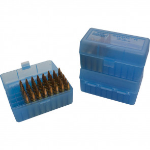R-50 SERIES X-SMALL RIFLE AMMO BOX - 50 ROUND - CLEAR BLUE