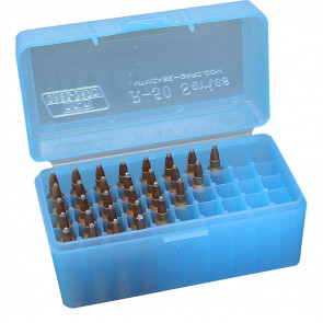 R-50 SERIES SMALL RIFLE AMMO BOX - 50 ROUND - CLEAR BLUE