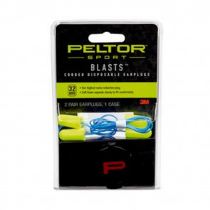 DISPOSABLE SPORT BLASTS EARPLUGS, CORDED, YELLOW/BLUE