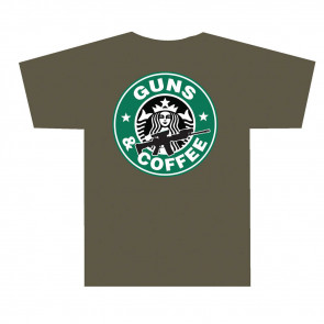 3001 GUNS AND COFFEE T SHIRT - OLIVE DRAB, SMALL